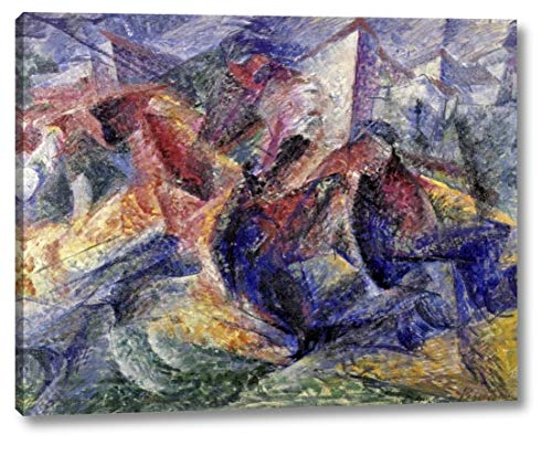"""Horse, Horseman and Buildings by Umberto Boccioni - 10"""" x 12"""" Canvas Art Print Gallery Wrapped - Ready to Hang"""