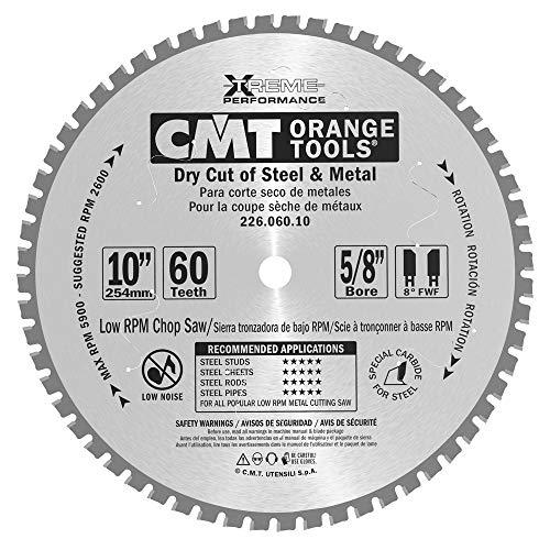 CMT 226.060.10 industriel sec Cut Lame de scie en acier, 25,4 cm X 60 dents 8 ° FWF Grind avec 5/20,3 cm Alésage