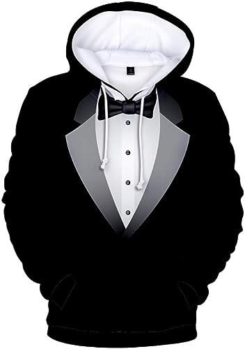 QSBY Pour des hommes sweat à capuche Sweat à Capuche Pull d'affaires Costume 3D Imprime Classique Pull en Laine Polaire athlétique Décontracté avec Capuche réglable et Poches Avant Slim Fit,XXL