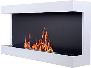AFLAMO Carter 100 - color negro/blanco - Etanol chimenea de pared - con bioetanol quemador de acero inoxidable - certificación TÜV