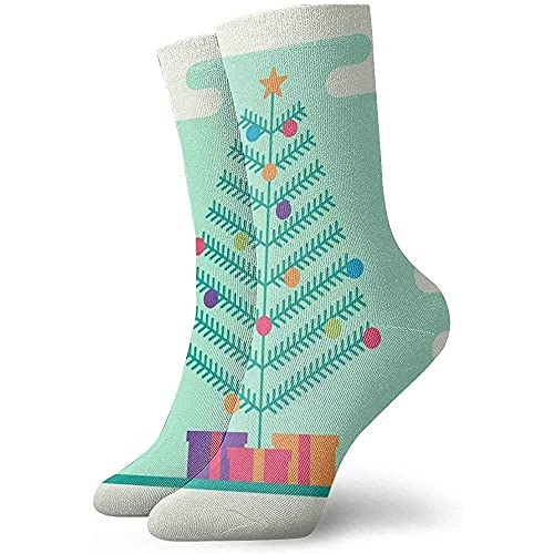 Kteubro Dress Socks Pack Christmas Tree with Garland, Bells, Gifts and A Star On TopIllustration Crew Socks