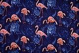 Softshell Paisley Flamingos, blau