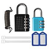 Candado de seguridad con bloqueo de contraseña Clyhon-Candado de seguridad con contraseña digital de 2 piezas, 1 cable de alambre suave retráctil y 2 etiquetas de equipaje