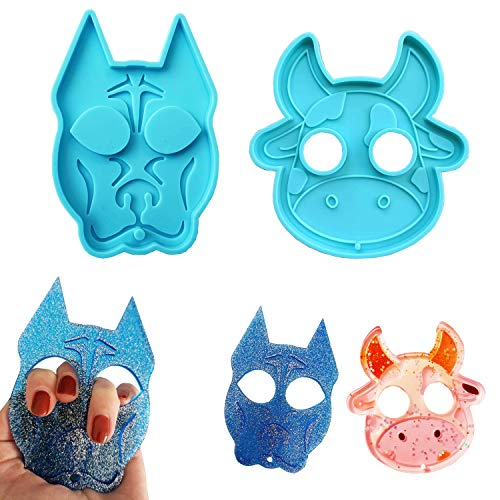 2Pcs Self Defense Keychain Resin Molds Dog and Cow Keychain Pendants Epoxy Silicone Mould, Polymer Clay Biscuit Baking Molds for DIY Crafts Jewelry Making