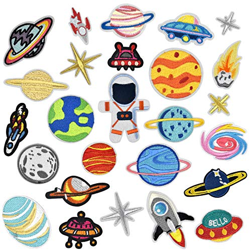 Jinlaili 26 Piezas Patch Sticker, Parche Termoadhesivo, Astronauta Parche, Planeta Espacio Parche Bordados, Costura de Apliques Decoración DIY para Ropa, Jeans, Mochila, Gorras