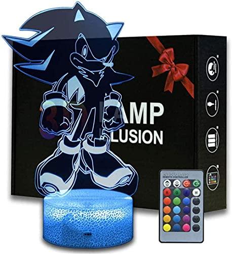 Sonic The Igelkotten 3D nattlampa pojkar nattljus för sovrum perfekta barngåvor och Darth Vader rumsdekoration 16 färger