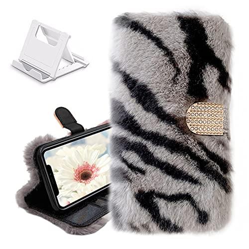 Yewos Leopard Hülle Kompatibel mit Samsung Galaxy Note 20,Plüsch Pelz Flip Brieftasche Handyhülle,Weich Hase Süße Winter Warm Flauschig Schutzhülle mit Handgefertigt Glitzer Strass,Grau