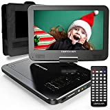 "DBPOWER 12"" Portable DVD Player with 5-Hour Rechargeable Battery, 10"" Swivel Display Screen, SD Card Slot and USB Port, with 1.8 meter Car Charger and Power Adaptor, Region Free- Black"