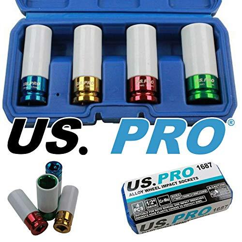 US PRO Douille à choc 4 pièces pour jantes en aluminium 17-19-21-22 mm