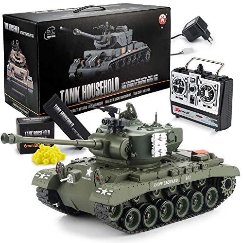 GOODS+GADGETS Ferngesteuerter RC M26 Pershing 2.4GHz Panzer Snow Leopard Tiger 1:16; Schuss-Funktion, Sound, RTR(Pershing Snow Leopard)