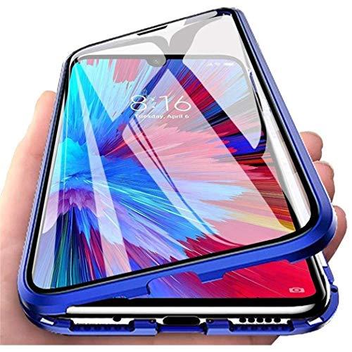Hülle für Xiaomi Redmi Note 9 / Redmi 10X 4G, Magnetische Adsorption Handyhülle Metall Stoßstange Flip Cover mit 360 Grad Schutz Doppelte Seiten Transparent Gehärtetes Glas Cover Case - Blau