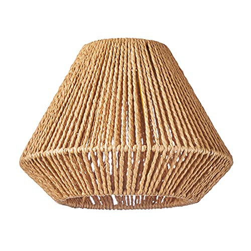 HSH Leuchten - Pantalla redonda para lámpara de techo (pantalla de papel reciclado, material reciclado, apta para lámpara colgante E27, diámetro 25 cm, altura 20 cm, sin bombilla)