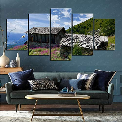 SexyZon 5 Pieces Canvas Home Decoration Painting Man-Made Shed Study Office Bar Art Mural 100X50Cm Frameless Painting