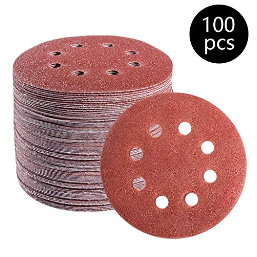 100Pcs Sanding Discs Pads, 5 Inch Sandpaper Set, 8 Holes Power Sander Hook & Loop Discs Assorted for Random Orbit Sander (Mixed Grits 40/60/ 80/100/ 120/180/ 240/320/ 400/800)
