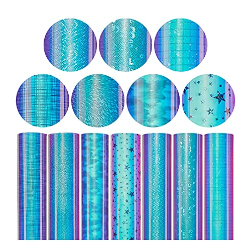 Btruely Heat Transfer Self-Adhesive Vinyl Bundle DIY Garment Film Silhouette Paper Fabric Holographic Colorful Craft Vinyl Design for Phone Covers Laptop Covers Cups Mugs,Clothes Pattern DIY Design