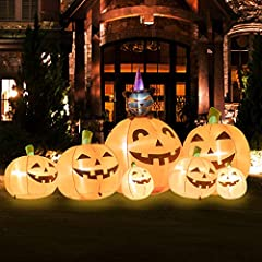 ☀ HUGE HALLOWEEN DECORATION: This Inflatable Pumpkin is 7 ft wide, from left to the right, best blow up yard decoration. It is made up of 7 cute inflatable pumpkins and black cat, help to creat halloween atmosphere also not too scary for the kids. ☀ ...