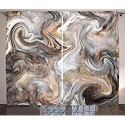 Ambesonne Marble Curtains, Retro Style Paintbrush Colors in Marbling Texture Watercolor Artwork, Living Room Bedroom Window Drapes 2 Panel Set, 108 X 84, Sand Brown