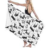 Yuanmeiju Unisex Scotch-Terrier-Dog Bath Towel Adult Soft Microfiber Printed Toalla de Playas Travel Towel 32x52 Inches