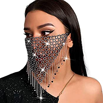 Campsis Sparkly Crystal Metal Mesh Mask Black Tassel Beads Chain Masks Festival Rave Masquerade Mask Jewelry for Women