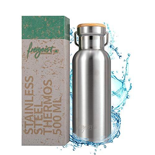 freigeist Thermosflasche Edelstahl 500ml doppelwandig mit Schraubverschluss | Outdoor Flasche Edelstahl Isolierflasche Kinder