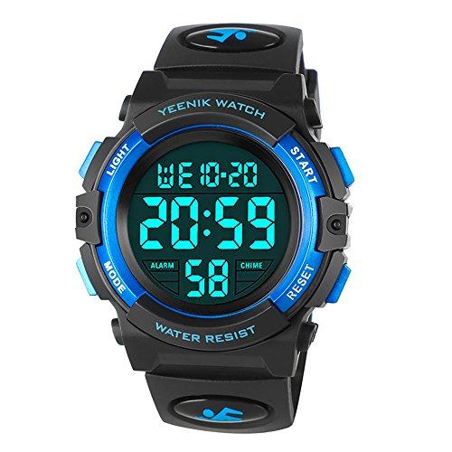 YEENIK Kids Waterproof Digital Watch, Sports LED Wristwatch with Alarm Electronic Stopwatch for Boys Girls and Children