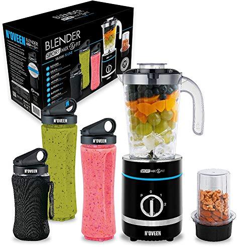 N'OVEEN Fitness Mixer Smoothie Maker, Standmixer, 500 Watt Multifunktions Sport Mixer – vitaminreiche und leckere Snacks für Sportler, 6-armige Klinge, 3 BPA-freie, 2x 600 ml & 300 ml