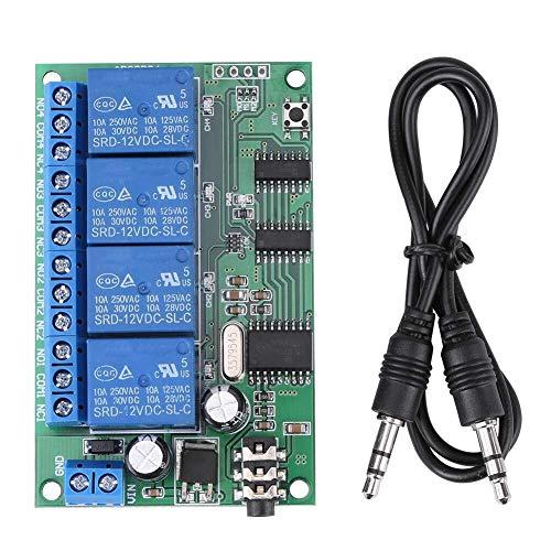 YEESEU Relé, AD22B04 12V de 4 Canales Ocho Modos de Funcionamiento del teléfono Remoto PLC Control de Tonos DTMF decodificador de señal de relé con Protección contra polaridad Invertida