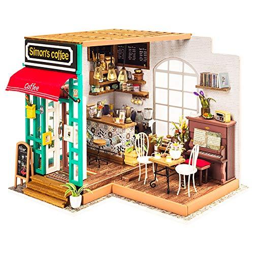 Wosume Romántico y Lindo Dollhouse Miniatura DIY H-Ouse Kit, Miniatura DIY H-Ouse Kit Perfecto Regalo de Bricolaje