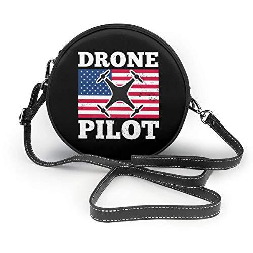 baowen Drohnenpilot Quadrocopter US-Flagge. Klassische runde Umhängetasche Crossbody Lederhandtasche