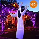 Twinkle Star Halloween Inflatable 12FT Ghost with LED Light Indoor Outdoor Yard Lawn Party Decoration