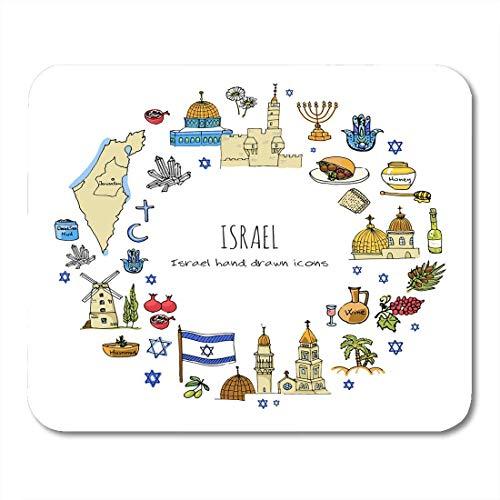 Muis Pads Kaart Van Israël Joodse Schets Doodle Op Witte Reizen Naar En Pagina's Christelijke Muis Pad Voor Notebooks Computers Matten - 9.4x7.8 inch