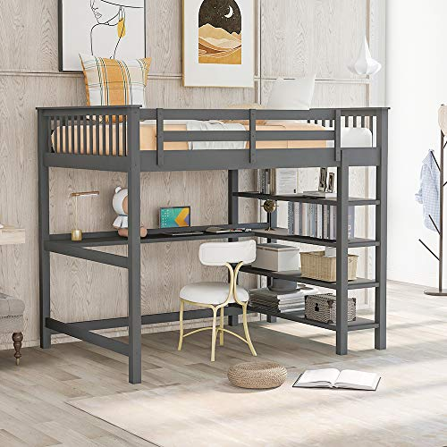 Wood Full Loft Bed with Desk and Book Shelves, Full Size High Loft Bunk Bed Frame for Kids and Teens, 400 lbs Weight Capacity. Grey