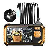 """Doppia Lente Endoscopio Industriale Telecamera di Ispezione 4,3"""" Colori Schermo, Portatile Telecamera D'ispezione 8MM 1080P HD Boroscopio IP67 Impermeabile con 6 luci LED,Giallo,10M"""