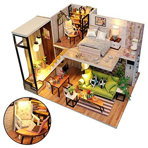 periwinkLuQ DIY Hölzernes Puppenhaus Miniatur Möbelbausatz mit LED Montage Modell Spielzeug Geschenk für das Festival