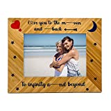 Petite Lili Love You To The Moon And Back Picture Frame Wood Gift for Happy 5th Anniversary...