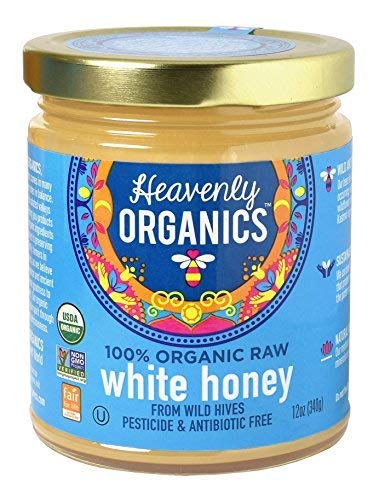 Heavenly Organics 100% Organic Raw White Honey (12oz) Lightly Filtered to Preserve Vitamins, Minerals and Enzymes; Made from Wild Beehives & Free Range Bees; Dairy, Nut, Gluten Free, Kosher -  01342005