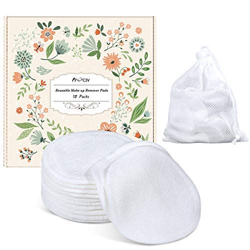 Reusable Makeup Remover Pads - Organic Cotton Rounds Soft Bamboo Toner Pads with Laundry Bag, 18 Pcs
