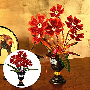 Twinkle Star Halloween Table Decorations, Halloween Succulent Artificial Flowers, Ghoulish Garden Peeping Poppies Eye Ball Flowers with 30 LED Orange Light, Horror Plant Centerpieces Tabletop Decor