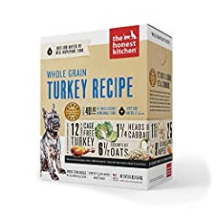 ORGANIC WHOLE GRAIN: The Honest Kitchen Whole Grain Turkey dog food is dog food made with free range chicken and dehydrated for maximum nutrition for puppies and adult dogs LOW PROTEIN: This low protein, calorically moderate, budget-friendly recipe f...