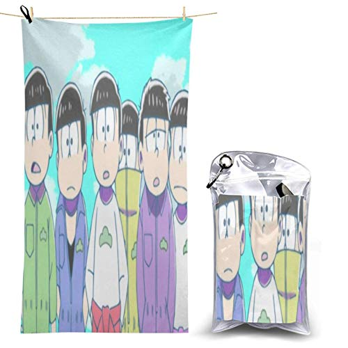 niushan Osomatsu San - Toalla de playa grande, ultra suave, altamente absorbente, toalla Qui Dry toalla de baño y ducha de gran tamaño con una bolsa de PVC para paaging de 28.7 pulgadas x 51 pulgadas