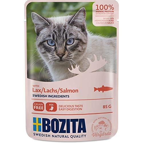 Bozita Pouch Häppchen in Soße mit Lachs   12x 85g Katzenfutter nass