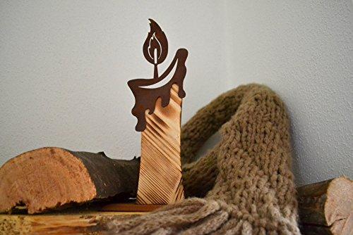 Unbekannt Holzkerze Metall Holz Rost Edelrost Holzfigur Rostfigur Deko Dekoration Deko-Idee Winterdeko Rostdeko Holzdeko Gartendeko Geschenk-Idee Geschenk