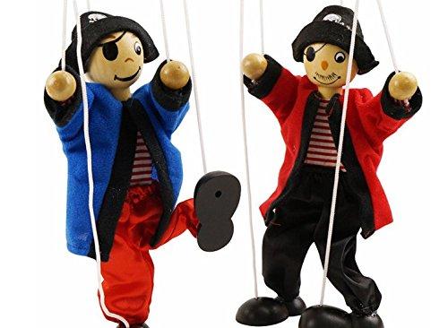 SPARIK ENJOY 2 Packs Clown Pirate Hand Marionette Puppet Children's Wooden Marionette Toys