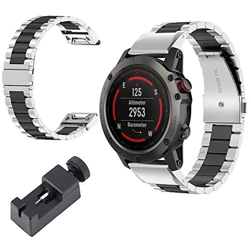 VeveXiao Compatible with Garmin Fenix 6/Fenix 5 Plus Strap, 22mm EasyFit Quick Release Stainless Steel Metal Replacement Band for Fenix 5/5 Plus,Fenix 6 Pro,Approach S60,Forerunner 935 (Silver Black)