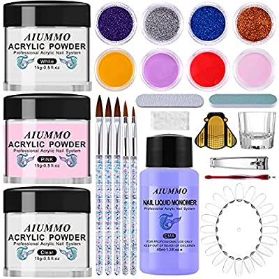 Amazon - 72% Off on  Acrylic Nail Kit, Liquid Monomer & Powder Set, Acrylic Nail Supplies with Nail Brush Glitter Powder