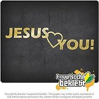 イエスキリストを愛するキリスト教 Jesus love you Christianity 20cm x 5cm 15色 - ネオン+クロム! ステッカービニールオートバイ