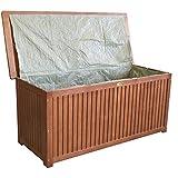 Wohaga® Gartenbox 133x58x55cm inkl. Innenplane Auflagenbox Kissenbox Gartentruhe Holztruhe Hartholz Eukalyptus Auflagentruhe