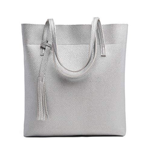 Yiwjby Frauen Softleder Handtaschen Frauen Schulter Beutel Troddel Wannen Beutel Mode Damenhandtaschen Silver
