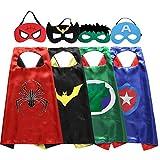 Zaleny Superhero Dress Up Costumes 4 Satin Capes and Felt Masks