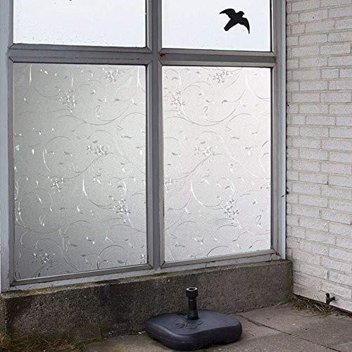 Película de ventana decorativa esmerilada en 3D. Adhesivo estático autoadhesivo Película de vidrio de etiqueta de puerta, papel de ventana opaco para decoración del hogar 45 x 200 cm